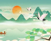 湖水山水中国风绘画PSD素材