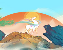 山峰鹿中国风景绘画PSD素材