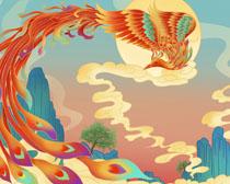 中国风凤凰绘画展示PSD素材