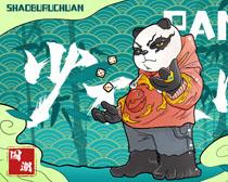 熊猫国潮时尚绘画PSD素材