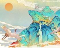 仙鹤山峰绘画展示PSD素材