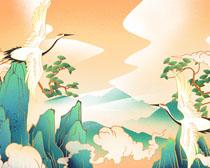 仙鹤与风景绘画展示PSD素材