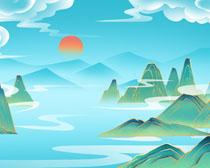 艺术山峰云层绘画PSD素材
