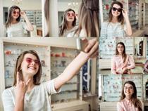 太阳眼镜美女拍摄高清图片