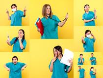 摆POS的护士摄影高清图片