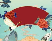仙鹤艺术古典风绘画PSD素材