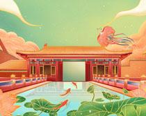 中国风古典建筑绘画PSD素材