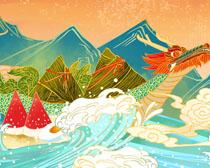 龙船棕子节日绘画PSD素材