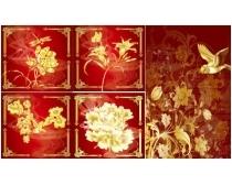 金色花纹飞鸟系列矢量素材17款