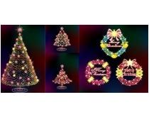 漂亮的灯饰圣诞树与花环矢量素材