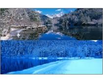 巨幅山川湖泊雪景图片