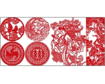 30款古典剪纸图案矢量素材图片