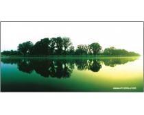 晨光湖水自然景观高清图片素材
