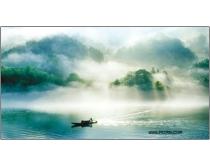 江边晨雾高清风景图片素材