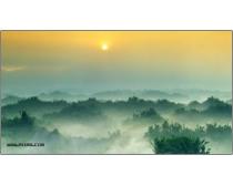 日出迷雾风景高清图片素材