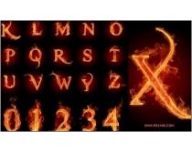 火焰数字与字母高清图片素材