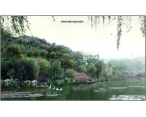 春天山野湖畔风光psd分层素材