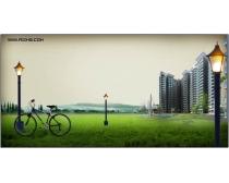 草坪自行车灯柱房地产
