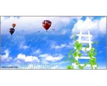 蓝天白云热气球psd分层素材