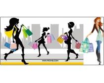 矢量购物女性人物图片素材