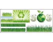 绿色草丛环保地球矢量素材