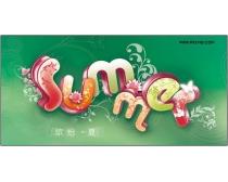 summer花型立體字
