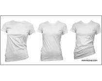 3套白色女士短袖衫(T恤)模板