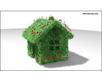 稻草房屋标志高清图片