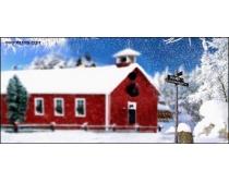 影楼背景图片:红房雪地