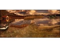 影楼背景图片:黄昏湖畔