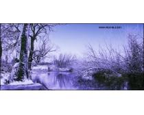 冬天河流雪景图片