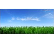 蓝天草地风景图片