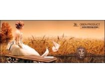 美女麦穗图片