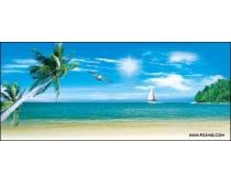清凉夏日海边风景高清图片