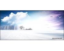 蓝天白云雪景图片