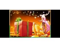 女人与礼物psd素材