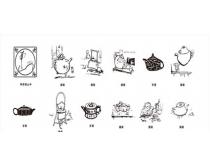 古代茶文化矢量素材