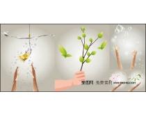手势,花朵,水滴,气泡等矢量素材