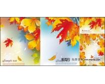 水滴枫叶背景矢量素材