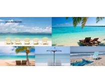 夏日沙滩凉椅风景图片