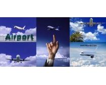 蓝天上的飞机高清图片素材