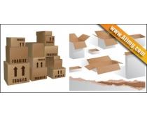 办公纸盒和纸板矢量素材