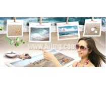 美女沙滩贝壳相框PSD素材