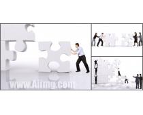 人物与拼图商业图片