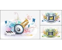音乐潮流元素矢量素材