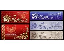 花纹和蝴蝶背景图案矢量素材