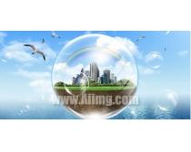 设计创意环保绿化风景PSD素材