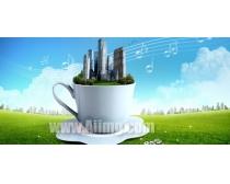 茶杯创意设计PSD素材