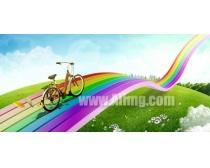 创意七彩虹风景PSD素材