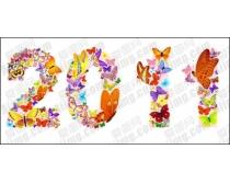 2011蝴蝶艺术字设计矢量素材